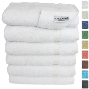 "Turkish Luxury Hotel & Spa 16""x30"" Hand Towel Set of 6 Turkish Cotton - Organic Eco-Friendly (Hand Towels, White)"
